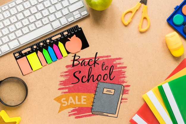 Retour à la vente d'école avec des notes autocollantes Psd gratuit