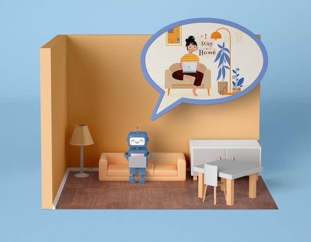 Robot Se Détendre à La Maison Sur Le Canapé Psd gratuit