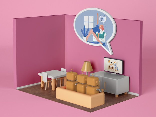 Robots Sur Le Canapé Devant La Télé à La Maison Psd gratuit