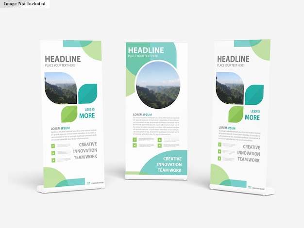 Roll Up Banner Stands Mockup PSD Premium