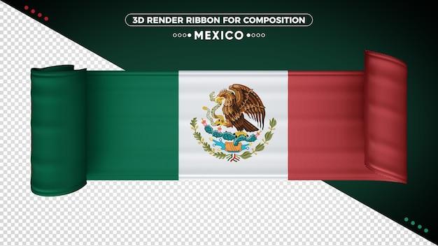 Ruban De Drapeau 3d Du Mexique Pour La Composition PSD Premium