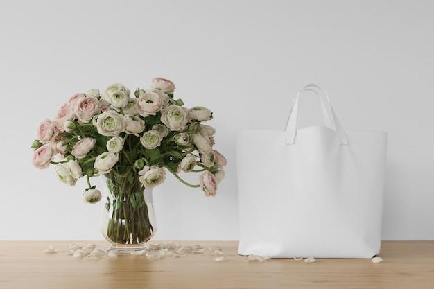 Sac Blanc Et Fleurs Dans Un Vase Psd gratuit