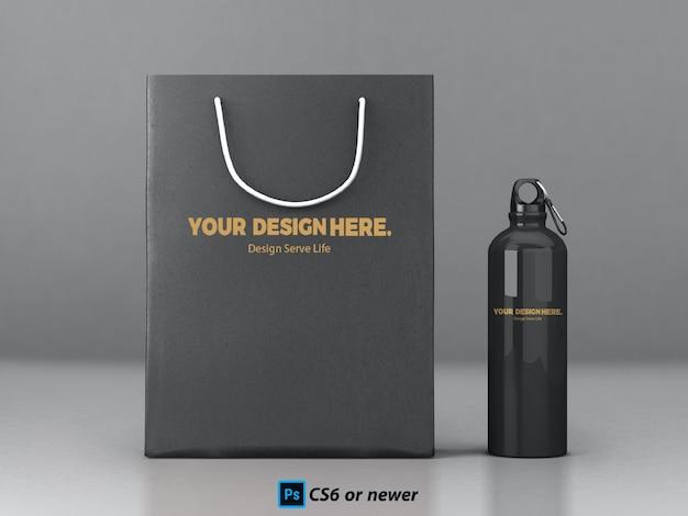 Sac et bouteille mock up PSD Premium