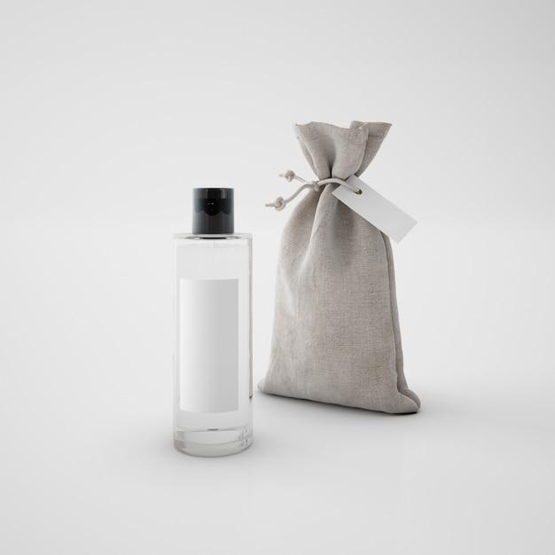 Sac Marron Et Flacon De Parfum Psd gratuit