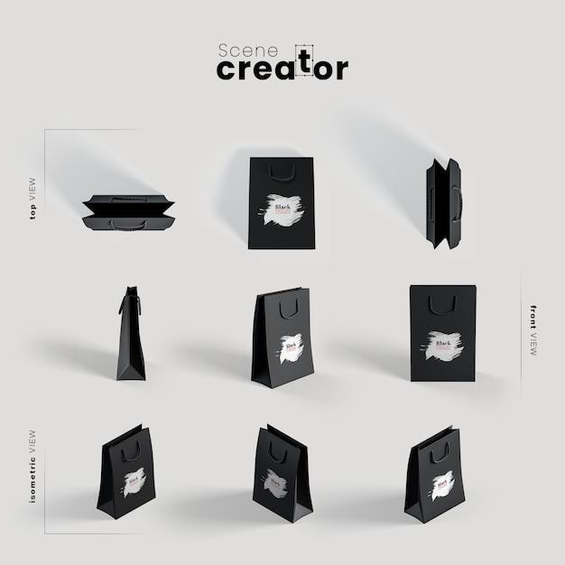 Sac en papier noir sous différents angles pour des illustrations de créateurs de scènes Psd gratuit