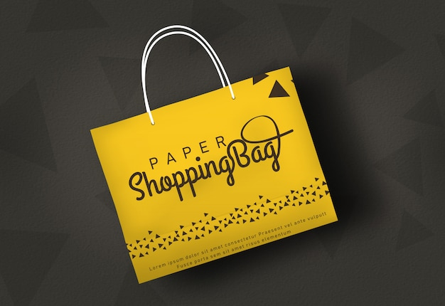 Sac de papier sac de papier maquette sac de magasin jaune PSD Premium