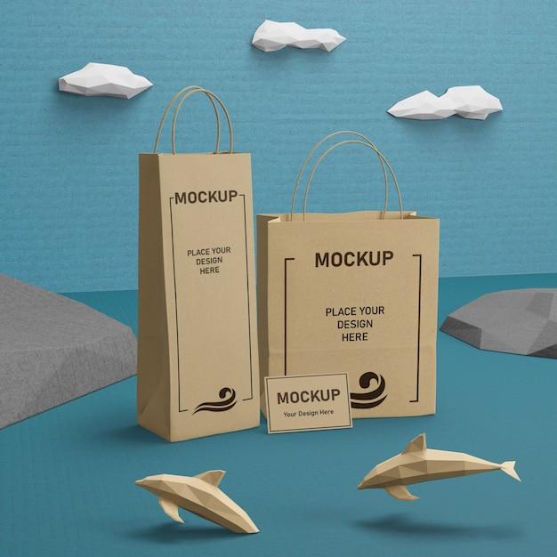 Sacs En Papier Durables Et Vie Marine Avec Maquette Psd gratuit