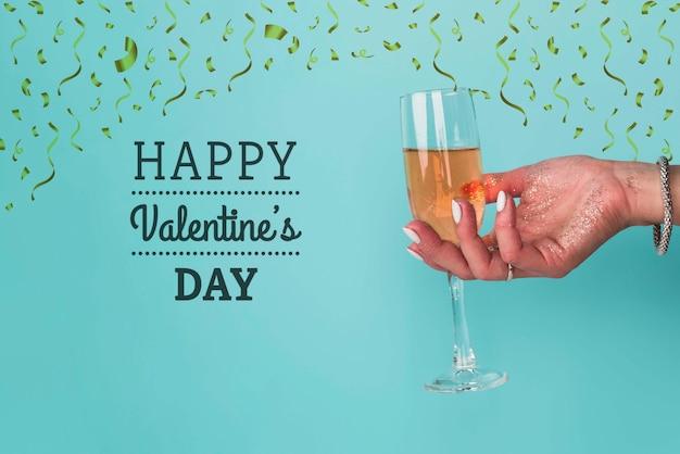 Saint Valentin Avec Champagne Psd gratuit