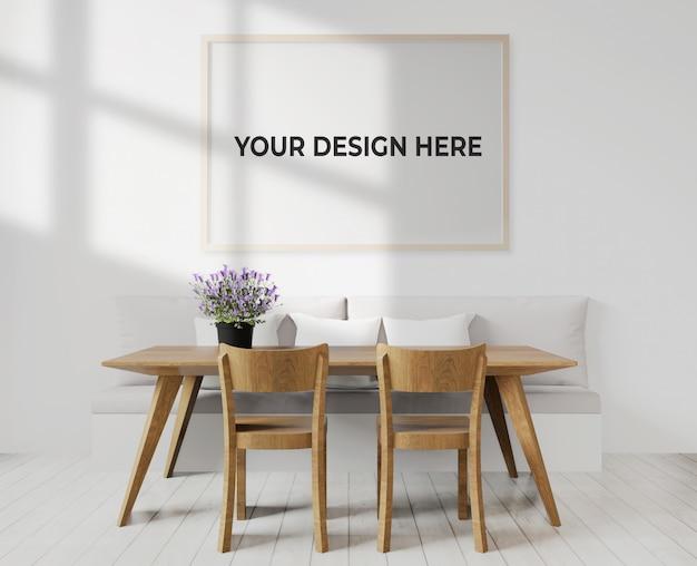 Salle à Manger Ou Salon Avec Maquette De Cadre Accroché Au Mur PSD Premium