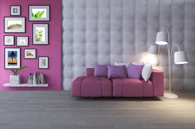 Salon de design d'intérieur avec maquette d'image et maquette de vue PSD Premium