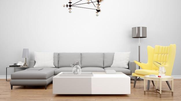 Salon élégant Avec Canapé Gris Et Fauteuil Jaune, Idées De Décoration Intérieure Psd gratuit