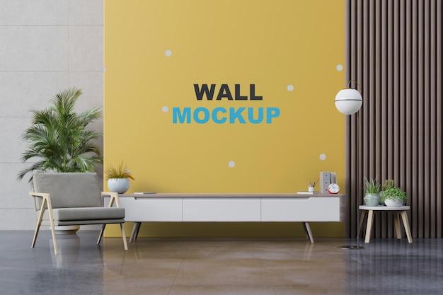 Salon Avec Fauteuil, Lampe, Table, Fleur, Plante Et Maquette Murale PSD Premium