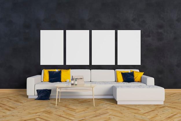 Salon Avec Un Grand Canapé Et Des Cadres PSD Premium