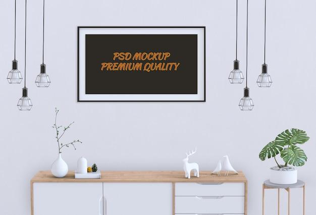 Salon intérieur avec affiche vierge maquette et maquette. rendu 3d PSD Premium