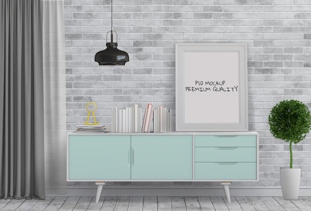 Salon intérieur avec affiche vierge maquette et maquette PSD Premium
