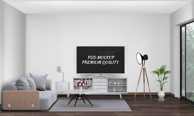 Salon intérieur avec canapé, plante, lampe, smart tv., rendu 3d PSD Premium