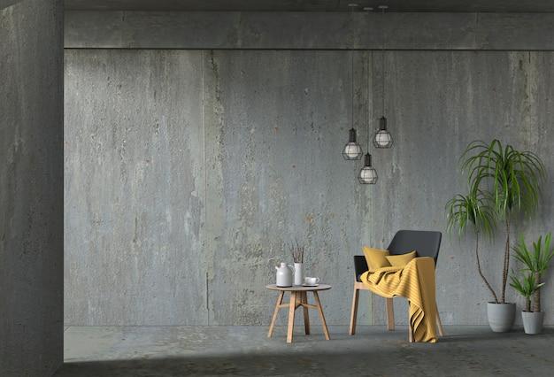 Salon intérieur mur de béton avec chaise PSD Premium
