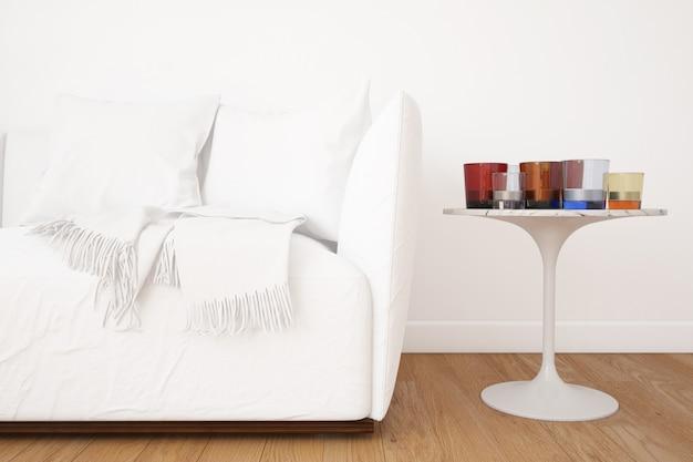 Salon Avec Maquette De Canapé Et éléments De Décoration Psd gratuit