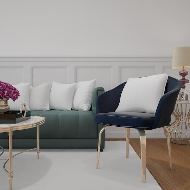 Salon Moderne Avec Canapé Et Coussins De Maquette Psd gratuit