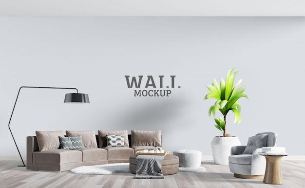 Salon Moderne Avec Canapé Marron. Maquette Murale PSD Premium