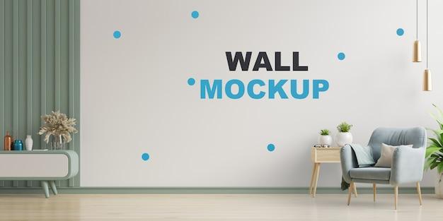 Salon Moderne Avec Mur Maquette Rendu 3d PSD Premium