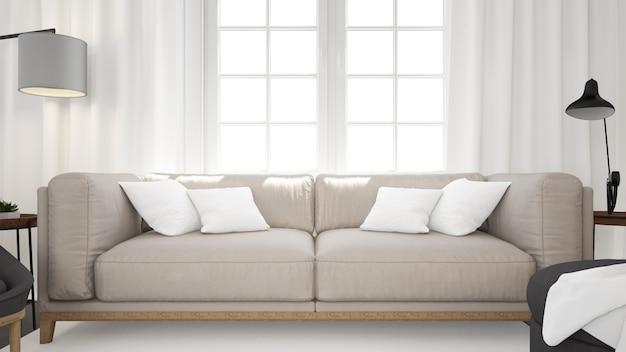 Salon Moderne Réaliste Avec Canapé Et Mur Blanc Psd gratuit