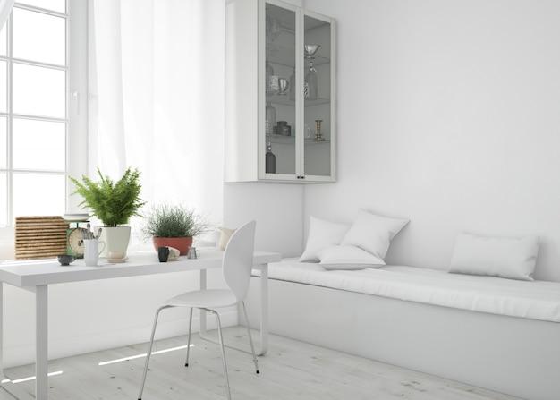 Salon Avec Table Et Maquette De Canapé Psd gratuit