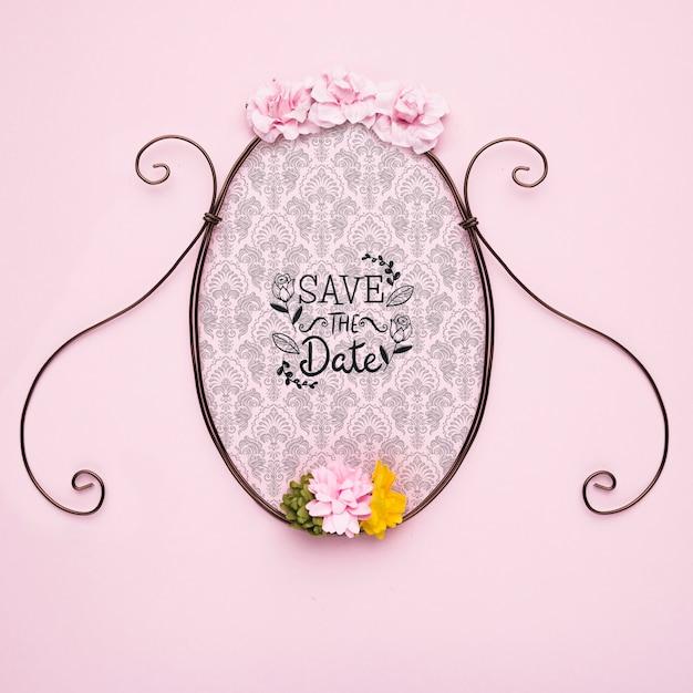 Sauvez Le Cadre Classique De La Maquette De Date Avec Des Fleurs Colorées Psd gratuit