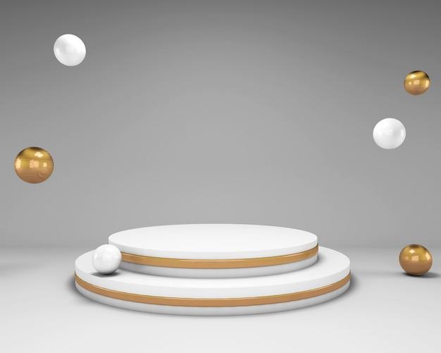 Scène De Maquette De Rendu 3d Avec Podium Blanc Et Boules Avec éléments En Or PSD Premium