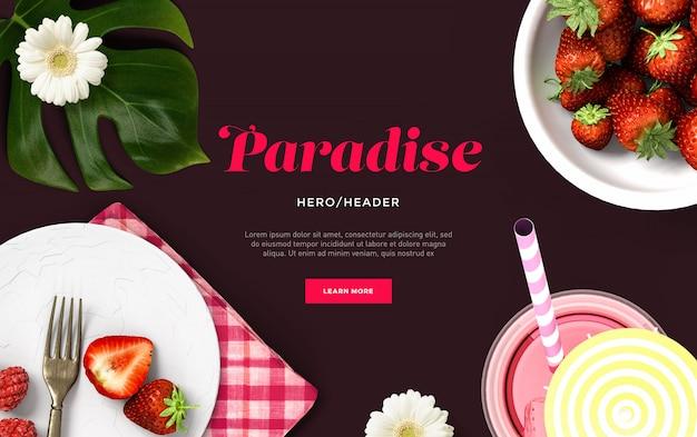 Scène personnalisée d'en-tête de héros paradisiaque PSD Premium