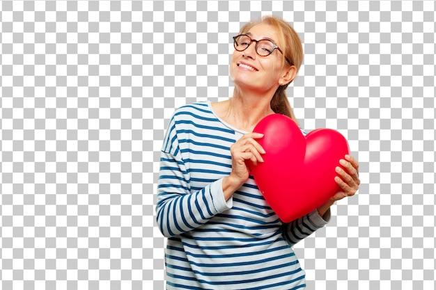 Senior belle femme en forme de coeur. concept de l'amour PSD Premium