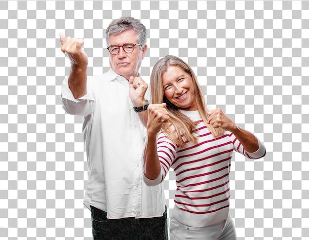Senior cool mari et femme avec un regard fâché PSD Premium