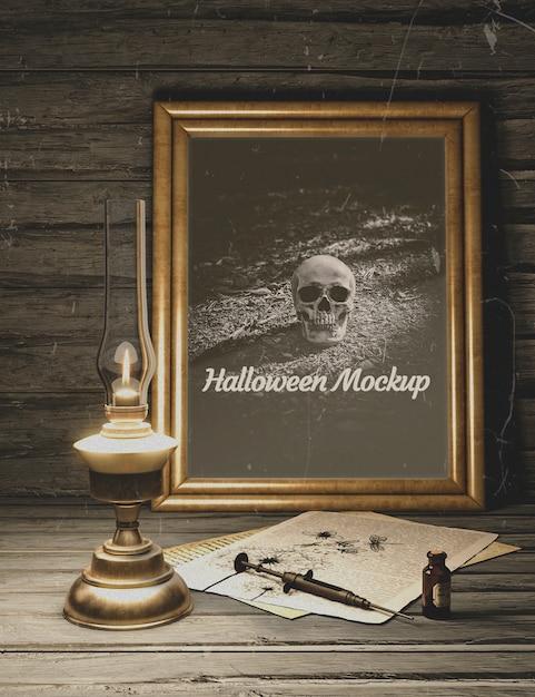 Seringue avec maquette d'horreur noire halloween poison Psd gratuit