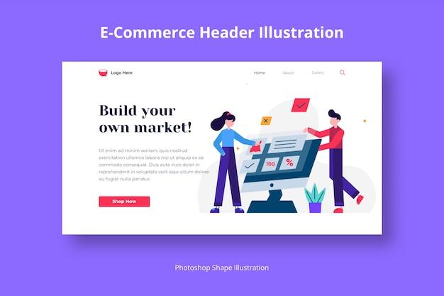Services De Commerce électronique Et Modèle Web De Marketing Avec Illustration Plate PSD Premium