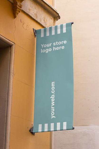 Signe de la maquette à l'extérieur du magasin Psd gratuit