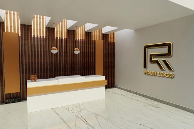 Signe De Maquette De Logo De Luxe Dans La Salle De Bureau De L'hôtel De Réceptionniste PSD Premium