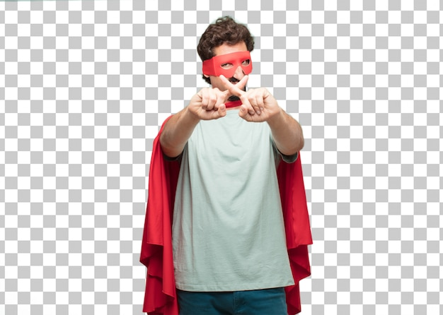 Signe de rejet jeune homme fou de super héros PSD Premium