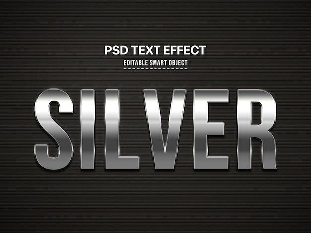 Silver effet de style de texte 3d PSD Premium