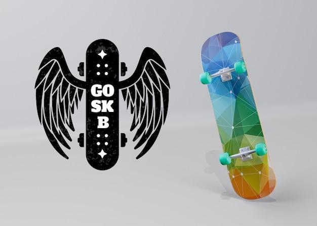 Skateboard coloré avec logo ailes d'ange Psd gratuit