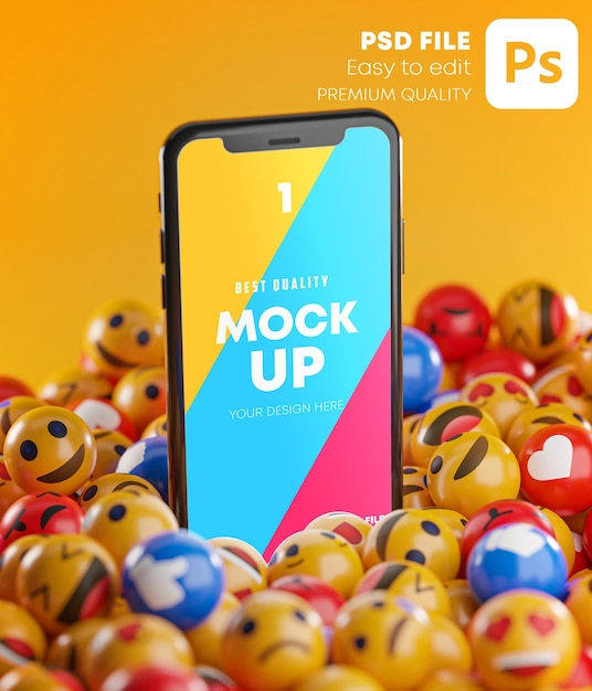 Smartphone Entre Un Tas D'émoticônes Emoji Dans La Maquette De Rendu 3d PSD Premium
