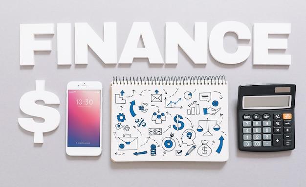 Smartphone maquette avec concept de finance Psd gratuit