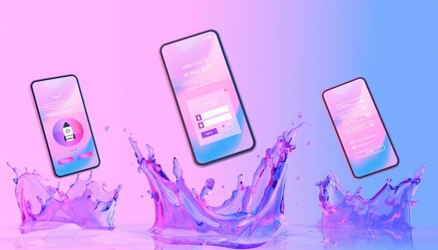 Smartphone avec page de connexion et fond liquide coloré Psd gratuit