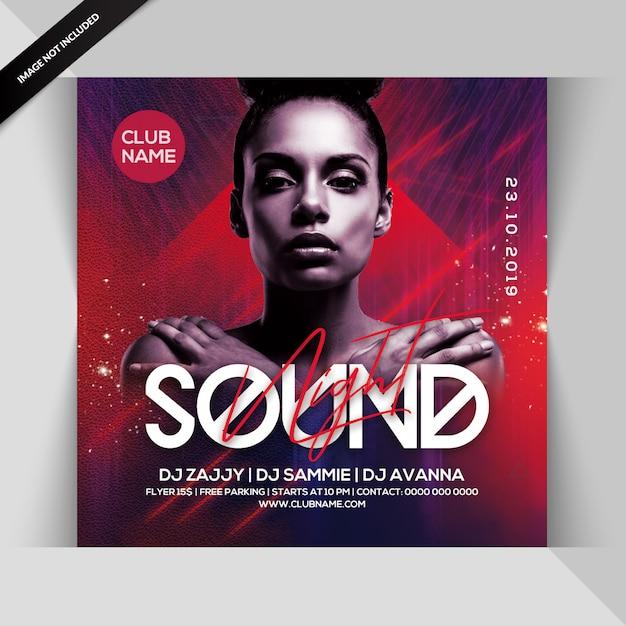 Sound night dj party flyer PSD Premium