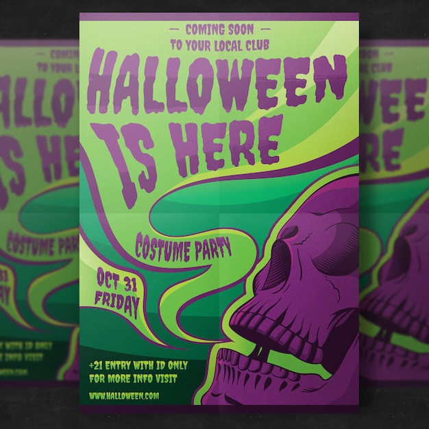 Spooky halloween party flyer PSD Premium