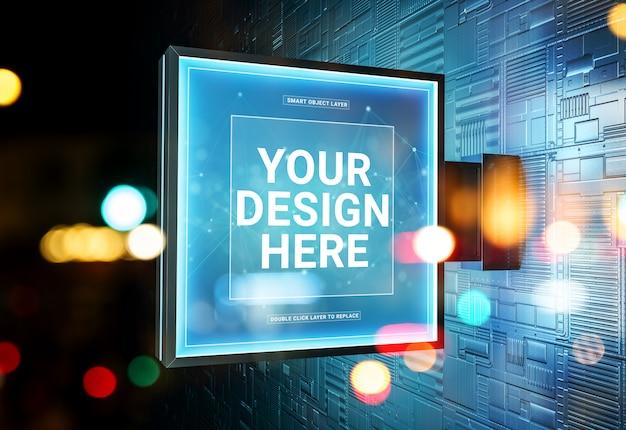 Squared store logo connexion dans la rue murale futuriste mockup PSD Premium