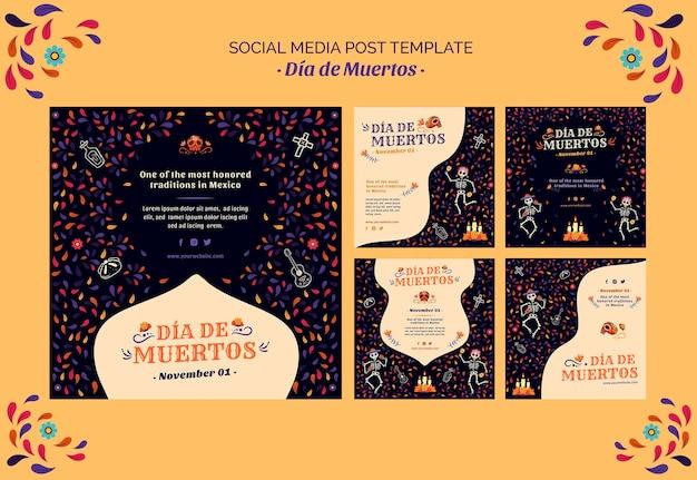 Squelette Et Confettis Dia De Muertos Publication Sur Les Réseaux Sociaux Psd gratuit
