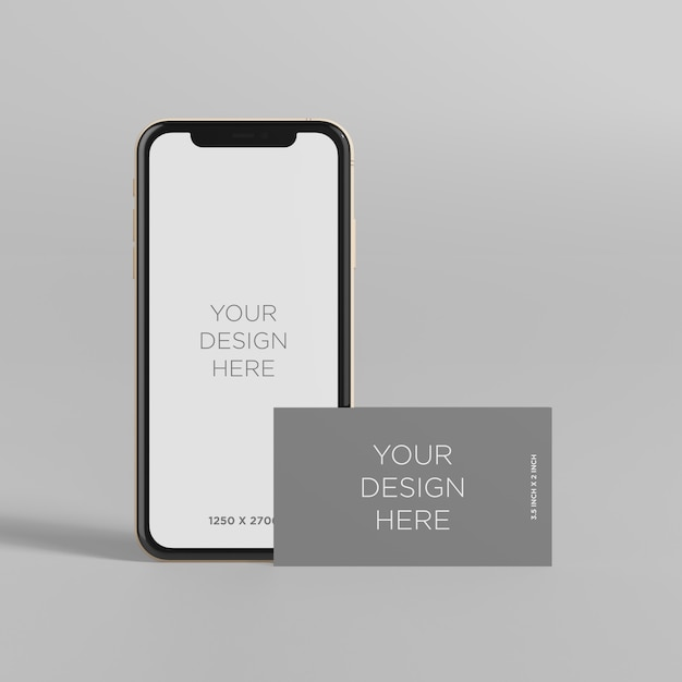 Stand de maquette de smartphone avec vue de face de carte de visite PSD Premium