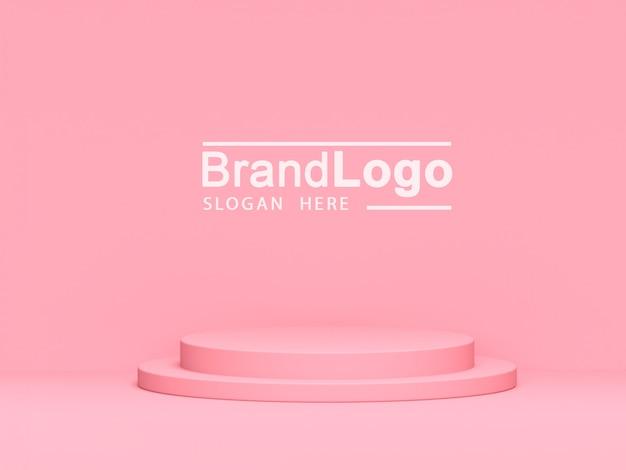 Stand De Produit Pastel Rose Sur Fond. Abstrait, Géométrie Minimale, Concept., 3d, Rendre PSD Premium