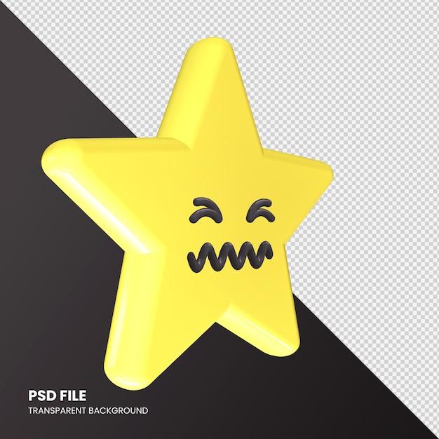 Star Emoji Rendu 3d Visage Confondu Isolé PSD Premium