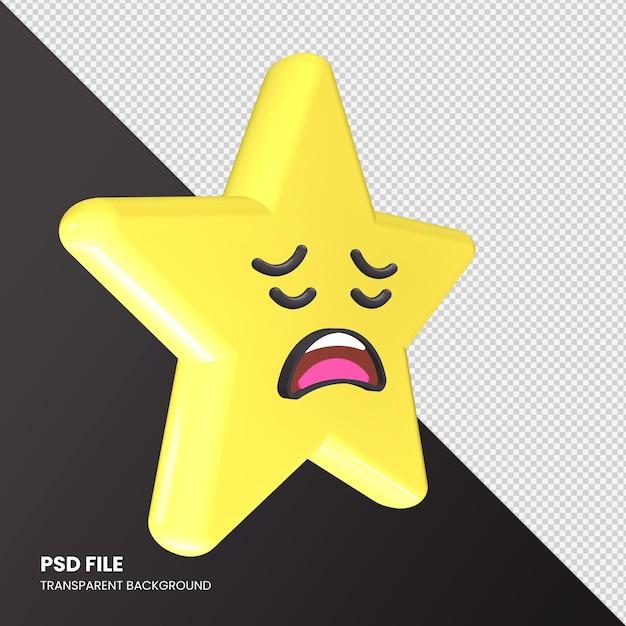 Star Emoji Rendu 3d Visage Fatigué Isolé PSD Premium